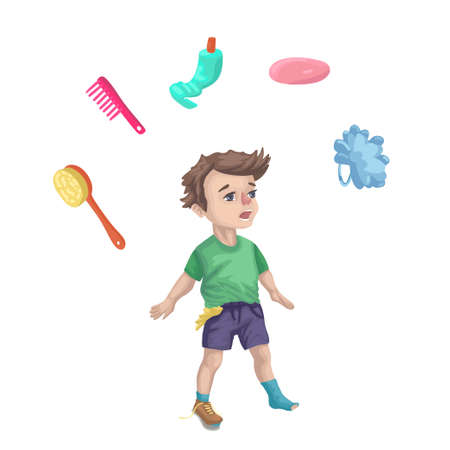 Dirty boy, learning to wash, the unkempt sloppy child, soap and washcloths around, will taking a shower. Childrens vector flat cartoon illustration