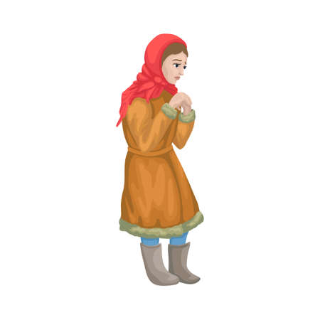 Unhappy sad frozen girl, beggar, poor, hungry orphan. Cartoon fairy tail character. Vector isolated illustration.