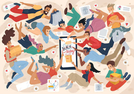People press the like button. oncept for Social networks, online shopping, dating. Vector illustration, banner design, advertisement. Flat simple style Vettoriali