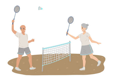 Pensioners play tennis, sports equipment rackets in their hands, playing sports, healthy lifestyle in retirement. Vector flat cartoon illustration.
