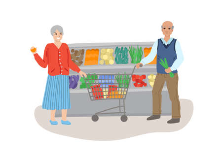 Old men husband and wife. Lifestyle for elderly people, family life. Shopping at the supermarket. Vegetables and fruits in the store. Vector illustration