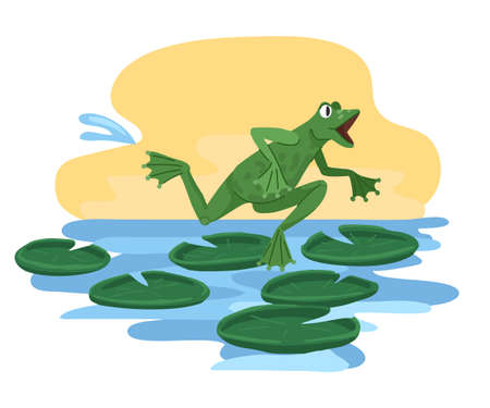 Frog is running, in a hurry, running through the swamp with water lilies. Vector cartoon illustration isolated on white background
