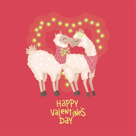 Happy valentines day. Alpaca couple hugs. Heart shaped flashlights. Vector illustration