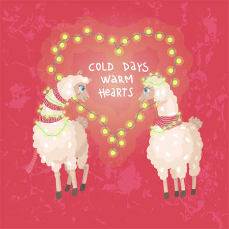 Happy valentines day. Alpacas couple look to eyes. Heart shaped flashlights. Vector illustration 矢量图像