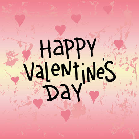 Happy Valentines Day Background with hearts. Handwritten text on bright background. Vector illustration