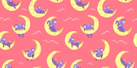 Vector seamless pattern with cute koala bear sleeping on the moon in cartoons style on pink background with clouds.