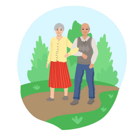Walking together. in the park, old people for a walk, retired family life, Vector illustration of characters in cartoon flat style