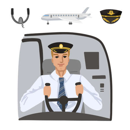 Pilot on plane. Professions, character and items for his work. Childrens education. Exercise for preschoolers. Vector flat cartoon illustration.