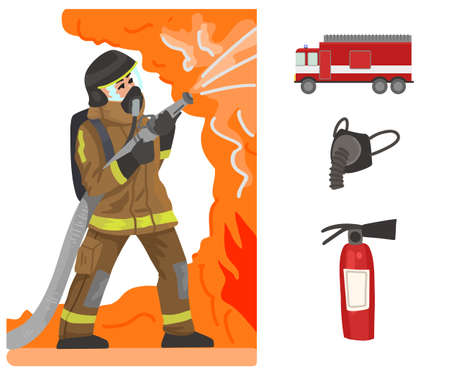 Firefighter and fire. Professions, character and items for his work. Childrens education. Exercise for preschoolers. Vector flat cartoon illustration.