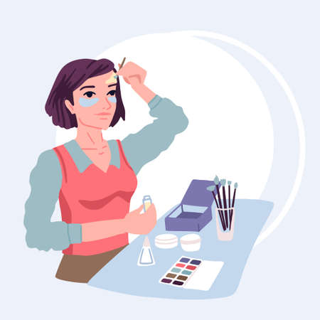 Woman applies cosmetics cream on her face, anti-wrinkle skin care, beauty treatments at home, makeup. Vector illustration