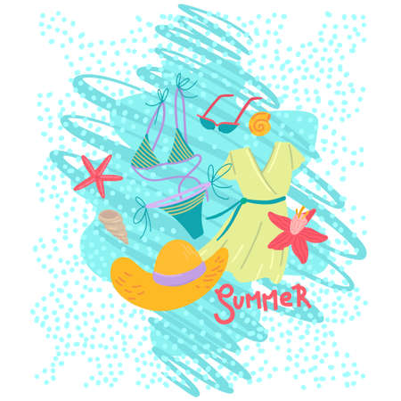 Summer vacation postcard, tourism print, womens beachwear, trip to the sea, water wave on the background. Vector illustration
