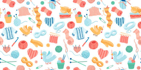 Needlework seamless pattern. Knitting with yarn, knitting needles, mittens and animals. Cute bright childish illustration. Seamless ornament for textiles, design creation of clothes