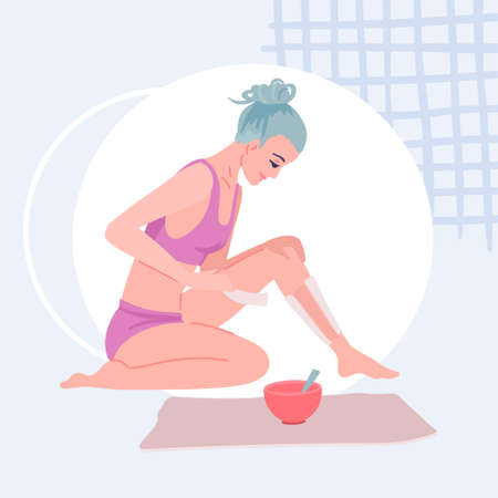 Girl does her leg hair epilation, foot care at home, wax epilation, peel off the strip. Vector flat illustration