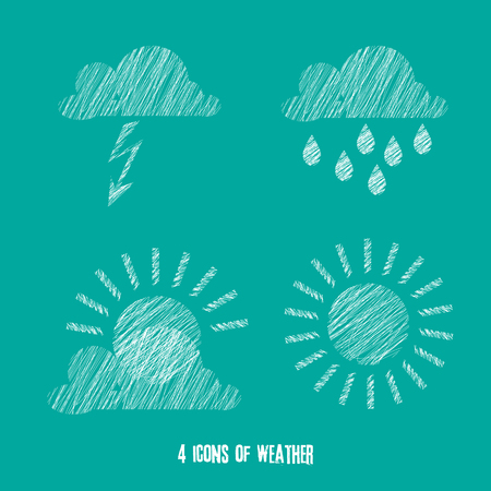 storm cloud: 4 icons of weather