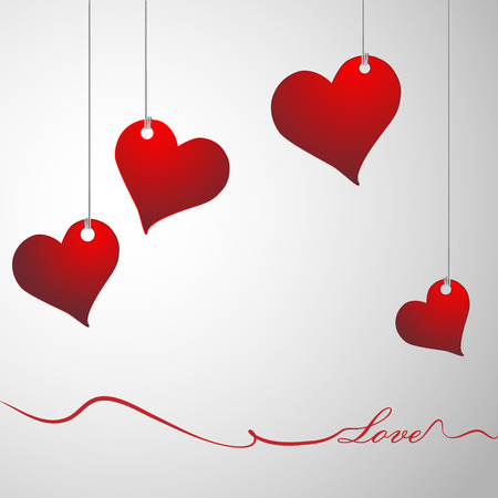 amorousness: Hanging red hearts Illustration
