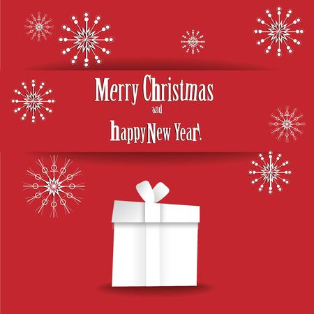 white party: Wishes Merry Christmas and Happy New Year on red background
