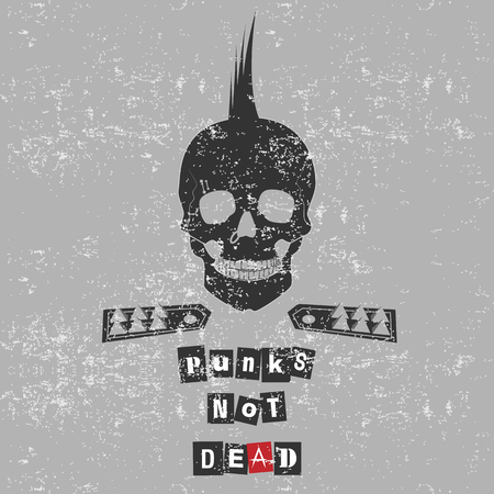 freaked: Skull with text, Punk is not dead Illustration