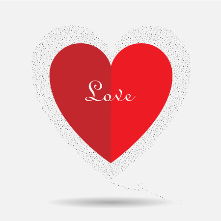 amorousness: Pure love of red heart illustration