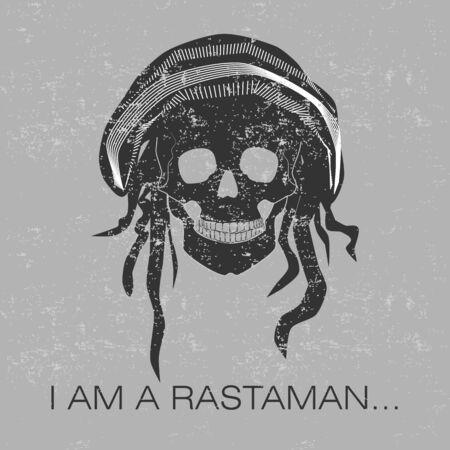 freaked: Skull with text, I am a Rastaman