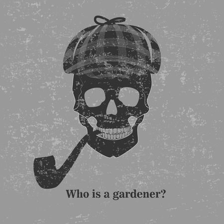Sherlock skull with text, Who is a gardener? Illustration