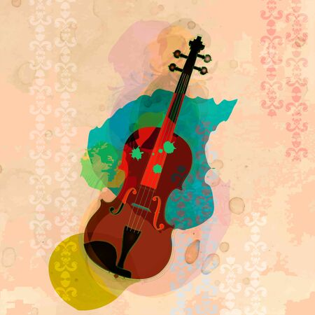 The violin with cith colourful background Ilustrace