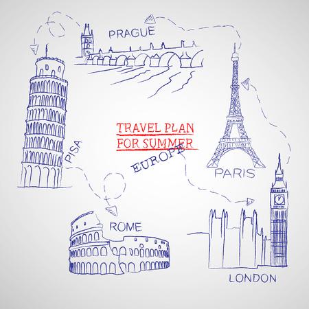 Reisplan voor de zomer Stock Illustratie