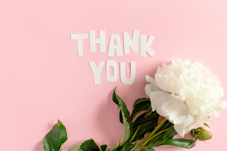 Quote Thank You made of letters cut out of paper. White peony on a pink pastel background Imagens - 114164028