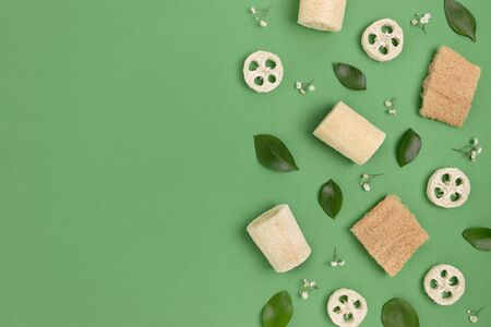 Loofah sponges and plant leaves on a green background. Zero waste pattern with copy space. Stock fotó