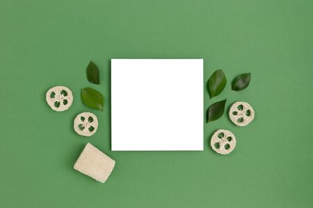 Paper card mockup with frame made of loofah and leaves on a green pastel background. Plastic free concept. Stock fotó