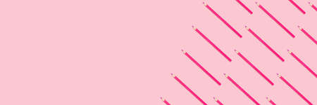 Banner with pink pencils pattern on a pastel background. Monochromatic creative concept with copy space.