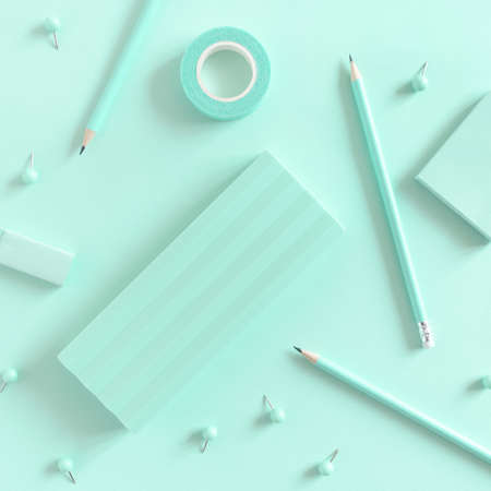 Pattern made of mint stationery. Monochrome composition