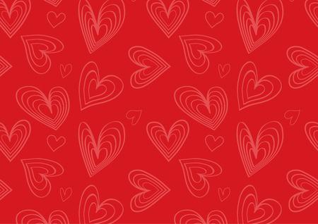flat heart pattern in red Çizim