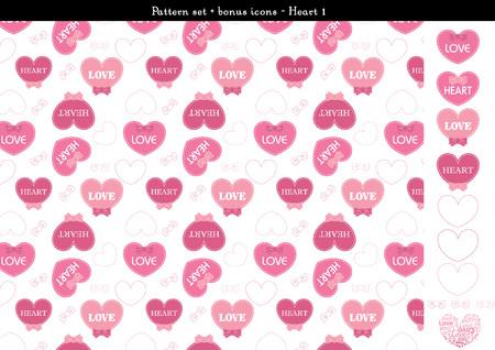 Pattern set of pink heart background with bonus icons - 1 Illustration
