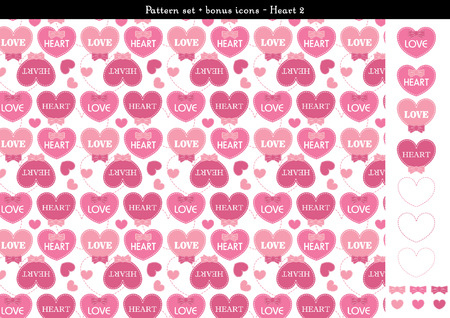 sweethearts: Pattern set of pink heart background with bonus icons - 2