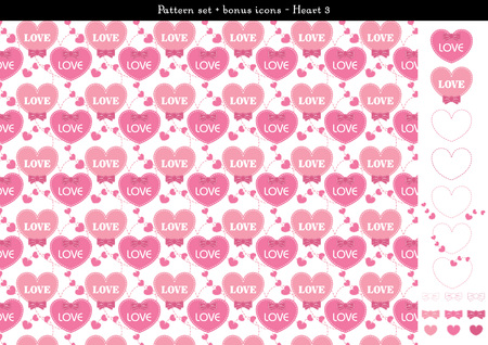 Pattern set of pink heart background with bonus icons - 3