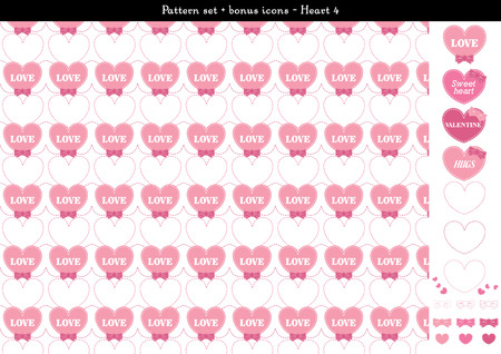 Pattern set of pink heart background with bonus icons - 4 일러스트
