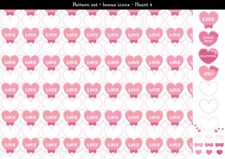 Pattern set of pink heart background with bonus icons - 4 Illustration