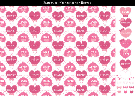 Pattern set of pink heart background with bonus icons - 5
