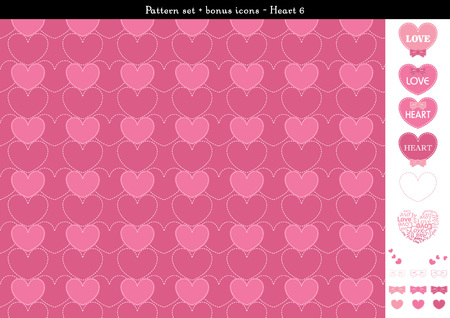 Pattern set of pink heart background with bonus icons - 6