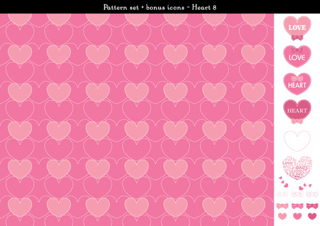 Pattern set of pink heart background with bonus icons -
