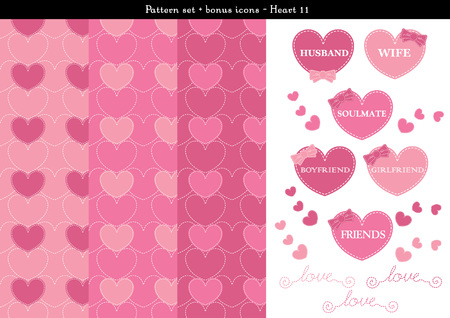 cuteness: Pattern set of pink heart background with bonus icons Illustration
