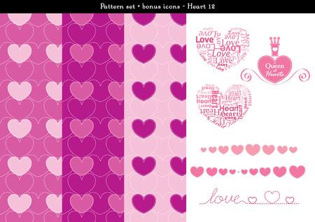 Pattern set of pink heart background with bonus icons Illustration