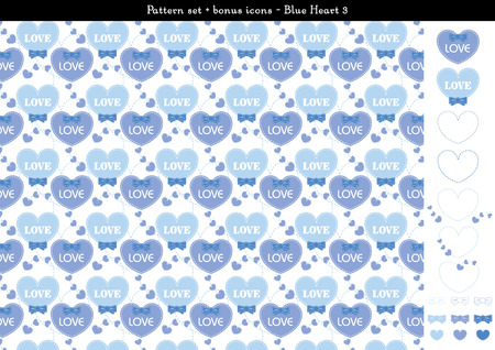 Pattern set of blue heart background with bonus icons - 3