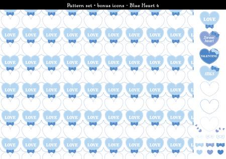 Pattern set of blue heart background with bonus icons - 4 Illustration