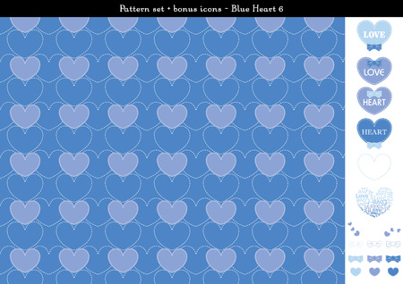 cuteness: Pattern set of blue heart background with bonus icons - 6