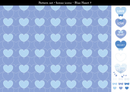 Pattern set of blue heart background with bonus icons - 7 Illustration