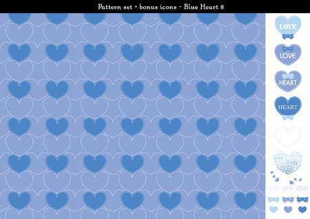 Pattern set of blue heart background with bonus icons Illustration