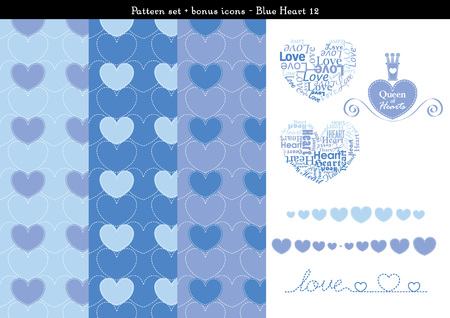 Pattern set of blue heart background with bonus icons - 12
