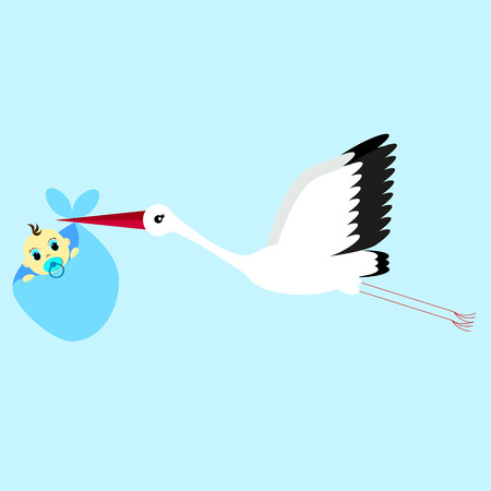 carying: cartoon vector illustration of a stork delivering a newborn baby boy