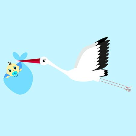 delivering: cartoon vector illustration of a stork delivering a newborn baby boy